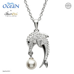 Shanore Dolphin Necklace w/ White Crystals and Pearl