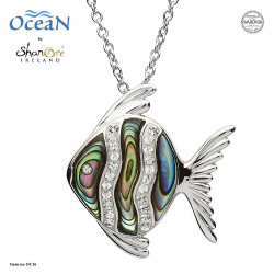 Shanore Fish Necklace with Crystals and Abalone