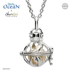 Shanore Dolphin Cage Pendant w/ Crystal and Pearl