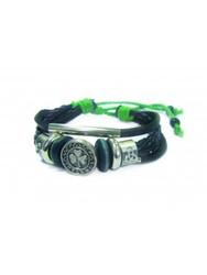 Shamrock / Trinity Button Leather Bracelet Tan