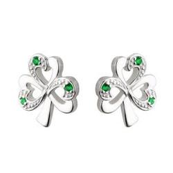 Sterling Silver Synthetic Emerald Shamrock Stud Earrings