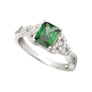 Sterling Silver Green CZ Trinity Knot Ring