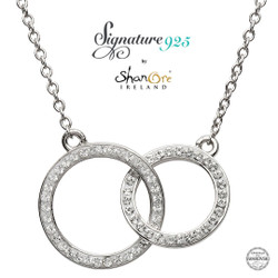Double Circle Silver Pendant Encrusted With White Swarovski Crystal.