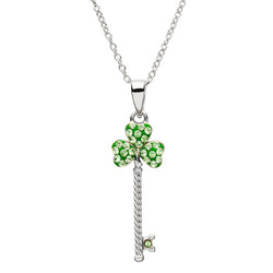 Silver Shamrock Key Pendant Encrusted With Swarovski Crystals