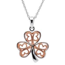 Silver Filigree Rose Gold Plated Shamrock Necklace
