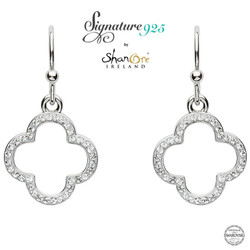 Silver Swarovski White Crystal Earrings