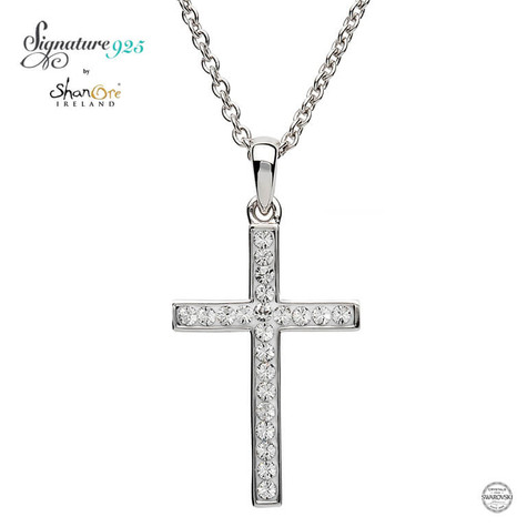 Simple Style Silver Cross Adorned With Swarovski Crystals