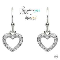 Silver Heart Shape Earrings Adorned With White Swarovski Crystals