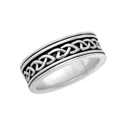 SILVER GENTS OXIDISED CELTIC KNOT BAND