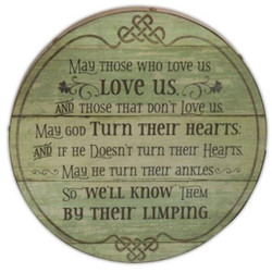 Irish Blessing Barrel Wall Plaque