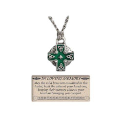 Celtic Cross Memorial Cross w/ Ash Holder Necklace