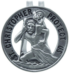St. Christopher Protect Us Round Visor Clip