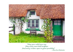 Irish New Home Card- Adare Thatched Cottage