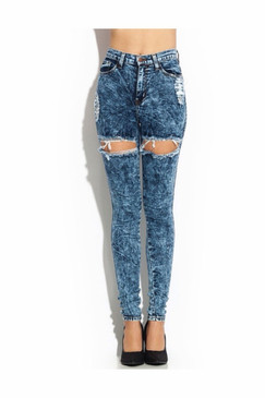 DARK WASH THIGH SLIT HIGH WAIST JEANS