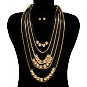 TESS Necklace Black Gold