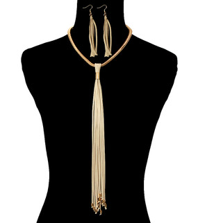 FRINGE LONG NECKLACE Beige