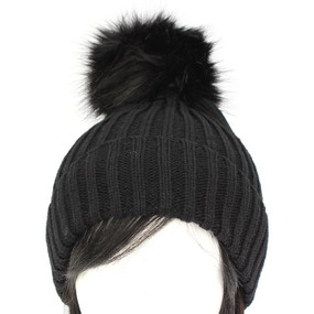 FUR BALL BEANIE Black