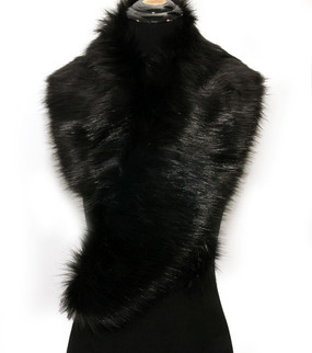 FAUX FUR COLLAR SHAWL BLK
