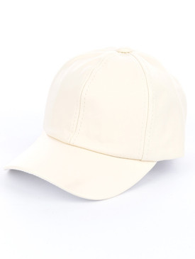 Ivory Faux Leather Cap