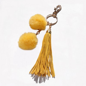 DOUBLE POM TASSEL KEY CHAIN Mustard