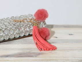 DOUBLE POM TASSEL KEY CHAIN Coral