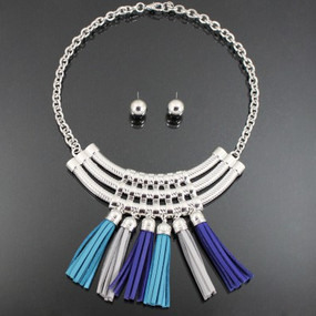 COLOR TASSEL NECKLACE Royal Blue Mix