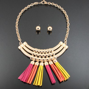 COLOR TASSEL NECKLACE Yellow Mix