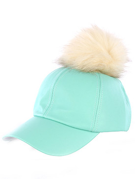 POM Faux Leather Cap Mint