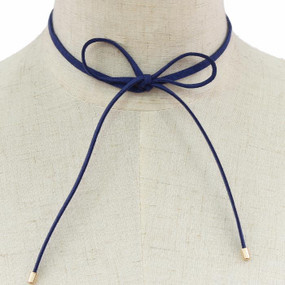 Suede Bow Choker Royal Blue