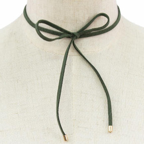 Suede Bow Choker Olive