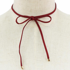 Suede Bow Choker Wine