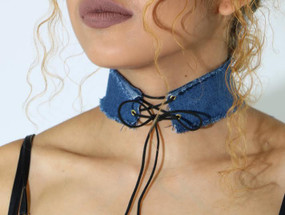LACE UP CHOKER Denim