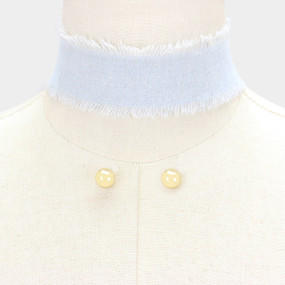 FRAYED DENIM CHOKER LB
