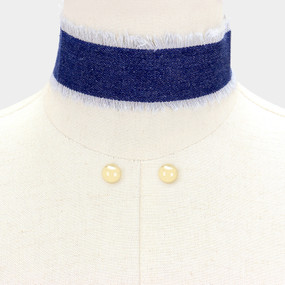 FRAYED DENIM CHOKER DB