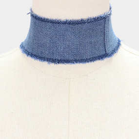 WIDE DENIM CHOKER BLU