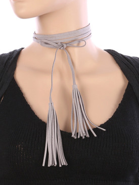 DOUBLE TASSEL CHOKER Gray
