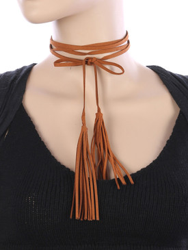 DOUBLE TASSEL CHOKER Tan