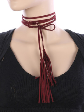 DOUBLE TASSEL CHOKER Wine