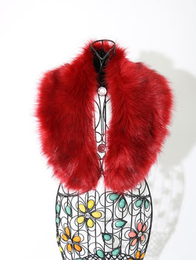 FAUX FUR COLLAR SHAWL Red