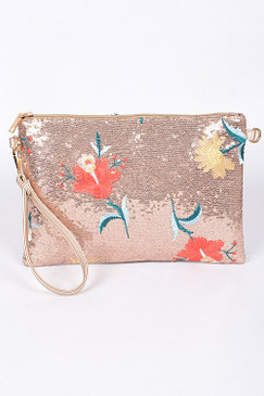 FLORAL SEQUIN CLUTCH ROSE GOLD