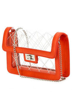 QUILTED CLEAR PURSE Orange