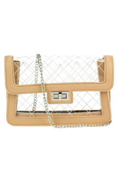 QUILTED CLEAR PURSE Nude