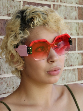 COLOR BLOCK SUNNIES Red