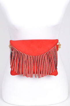 STUDDED FRINGE FANNY PACK Red