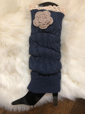 LEG WARMER Navy Flower