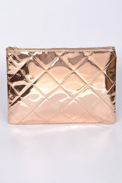 ROSE GOLD QUILT CLUTCH