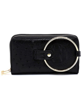 CROC RING WALLET Black