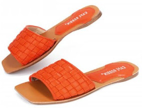 SQUARE TOE SLIDES Orange