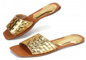 SQUARE TOE SLIDES Gold