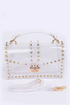 STUDDED CLEAR BAG Gold